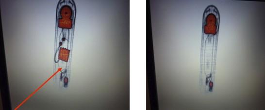 Röntgenaufnahmen von Telefonen